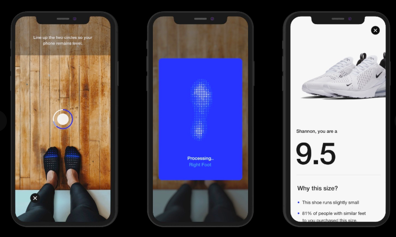NIKE APP ARE USING AR FOR FINDING THE RIGHT FIT THE BLUP